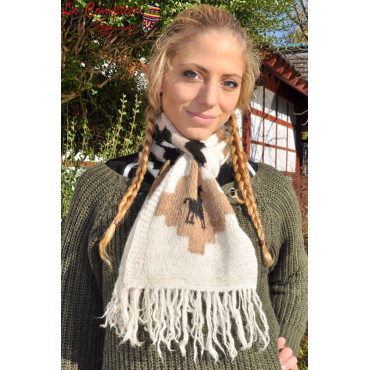 Écharpe tricoté main laine d'alpaga