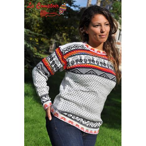 S M et L Handmade péruvien Pull-bleu avec capuche Taille